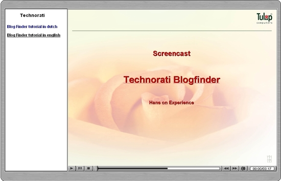 Technorati blog finder screencast